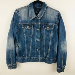 GAP L Blue Jean Trucker Jacket Denim
